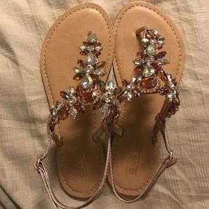 ASOS rose gold sandal flats